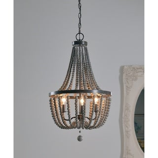 Design Craft Zander Golden Bronze 3 Light Wood Bead Chandelier