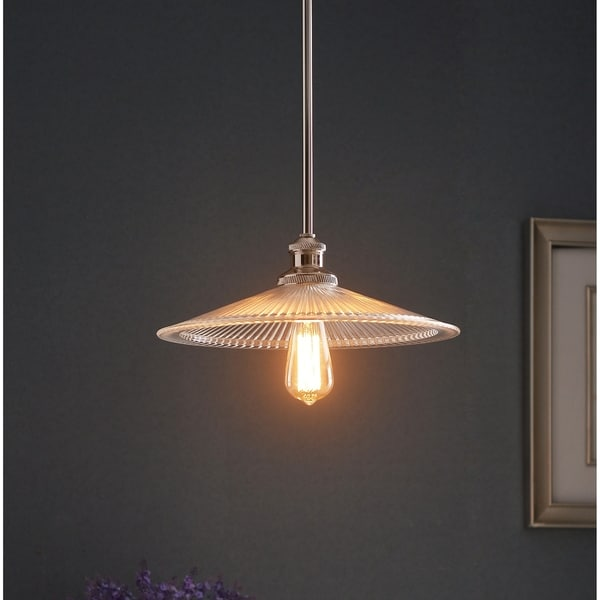 Design Craft Heritage Polished Nickel Metal 1-light Pendant with Clear Glass Shade