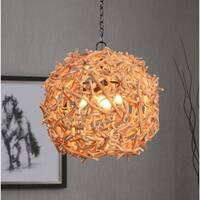 Nest Oil Rubbed Bronze and Wood 3 Light Pendant