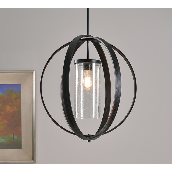 Design Craft Roxy Bronze Metal/Wood/Glass 1-light Pendant