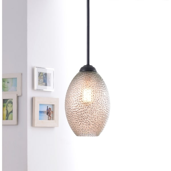 Design Craft Blume Blackened Bronze Oil-rubbed Steel/Glass 1-light Pendant