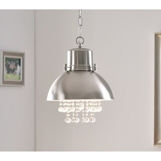 Design Craft Aniston Brushed Steel Metal/Crystal 1-light Mini Pendant