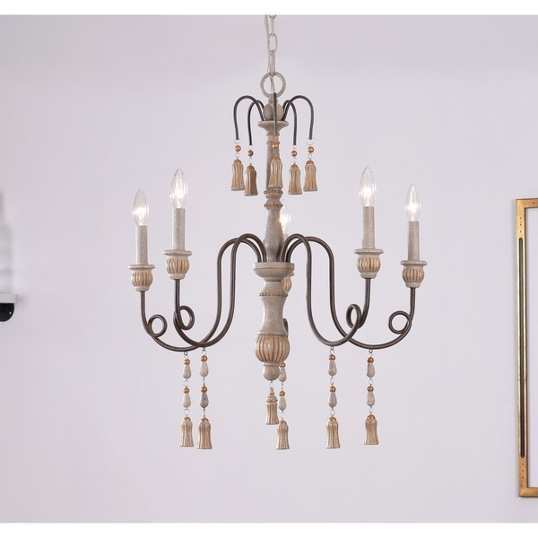 Design Craft Burke Weathered White 5 Light Chandelier