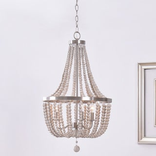 Zander Brushed Steel 3 Light White Wood Bead Chandelier