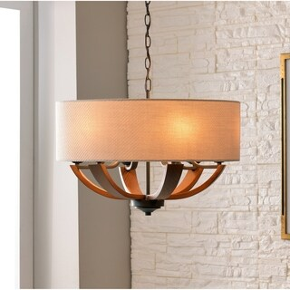 Design Craft Rocky Bronze Steel/Tone Wood 15.38-inch High x 22-inch Diameter 6-light Pendant with Fabric Drum Shade