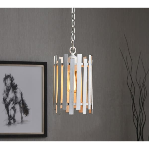 Design Craft Jones White Steel 1-light Pendant
