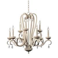 Design Craft Nicola Weathered White 9 Light Chandelier