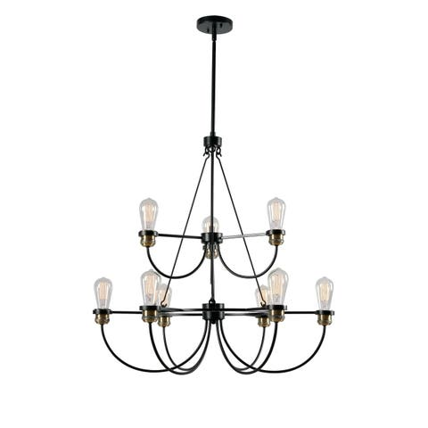 Aiden Black 9 Light 2 Tier Chandelier