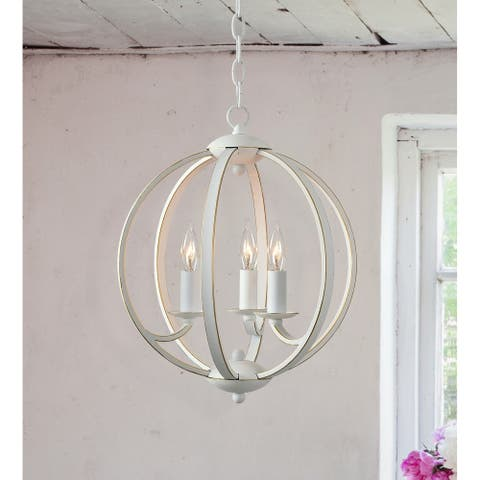 Pearl Weathered White 3 Light Chandelier