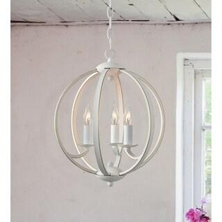 Design Craft Pearl Weathered White Steel 3-light Chandelier