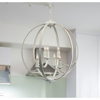 Pearl Weathered White 6 Light Chandelier