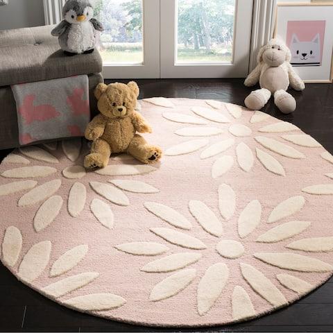 Safavieh Kids Handmade Pink/ Ivory Wool Rug - 5' x 5' Round