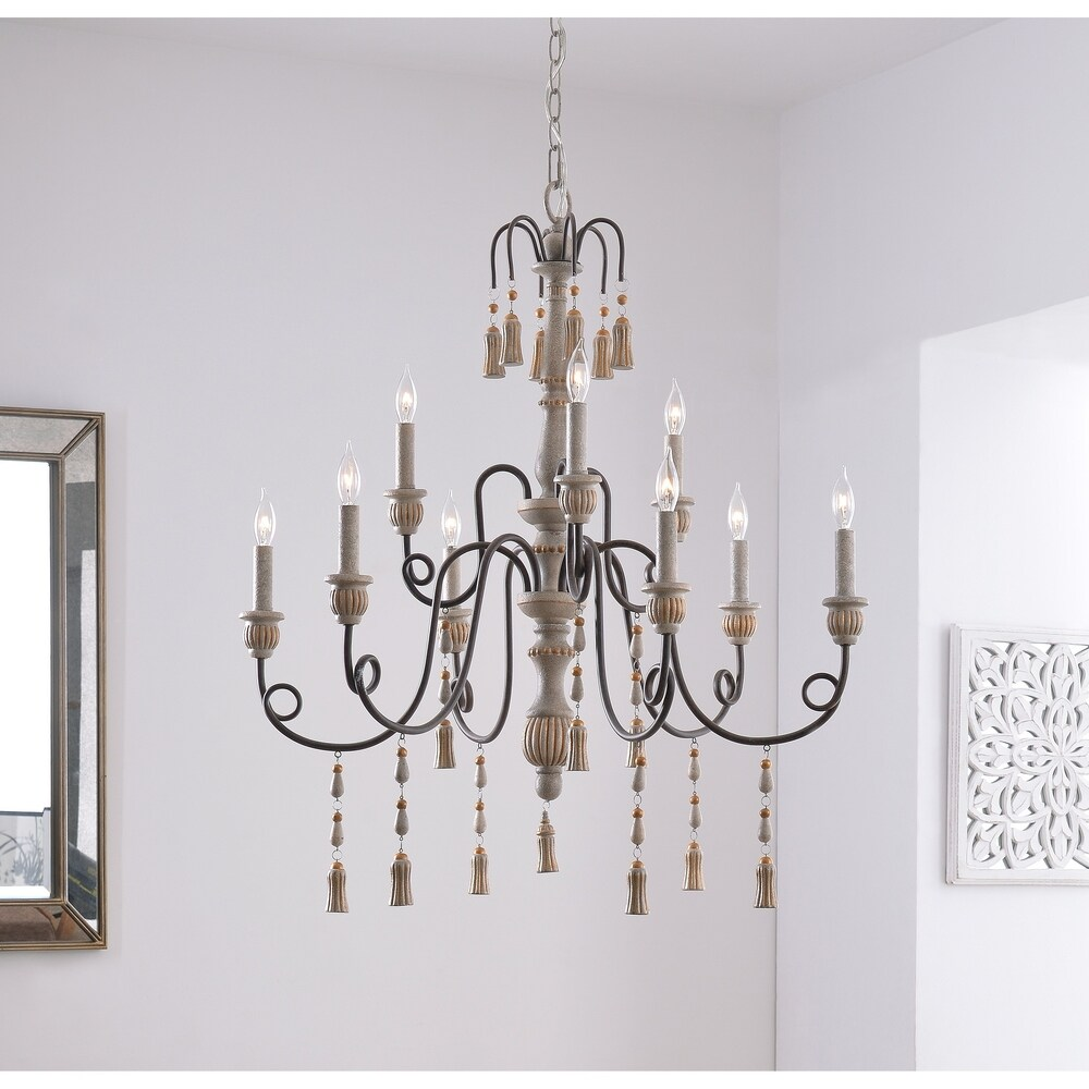 Evelyn 5 Light Chandelier Weathered White with Rope
