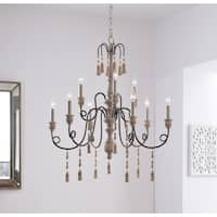 Burke Weathered White 9 Light Chandelier