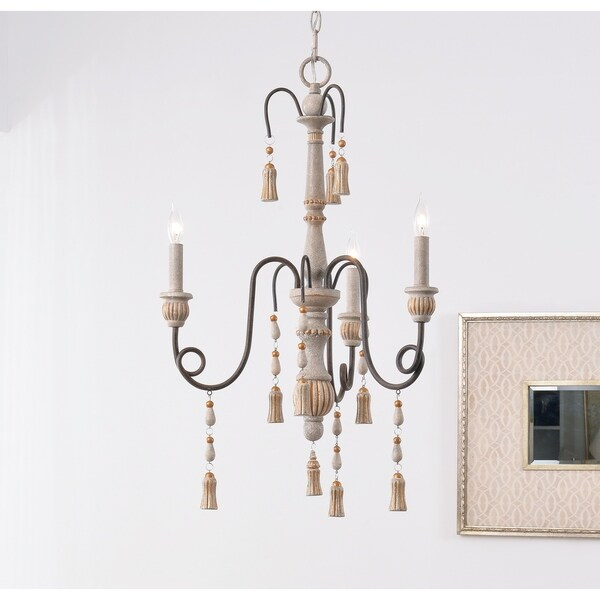 Burke Weathered White 3 Light Chandelier