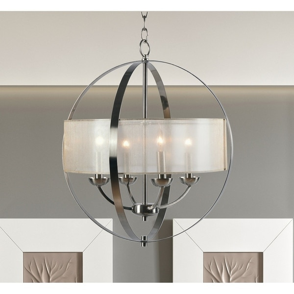 Halo Brushed Steel 4 Light Chandelier