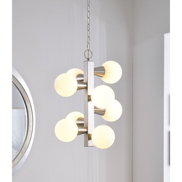 Vince Brushed Steel 8 Light Chandelier