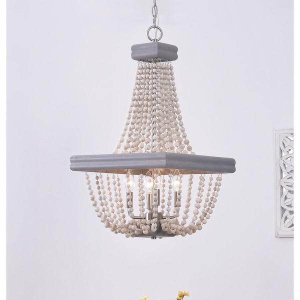 Shop Design Craft Ava Grey Wood 4 Light Chandelier On