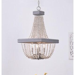 Design Craft Ava Grey Wood 4 Light Chandelier