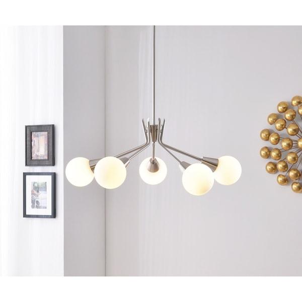 Design Craft Vince White Brushed Steel 5-light Chandelier