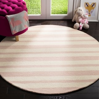 Safavieh Handmade Safavieh Kids Pink/ Ivory Wool Rug - 5' x 5' round