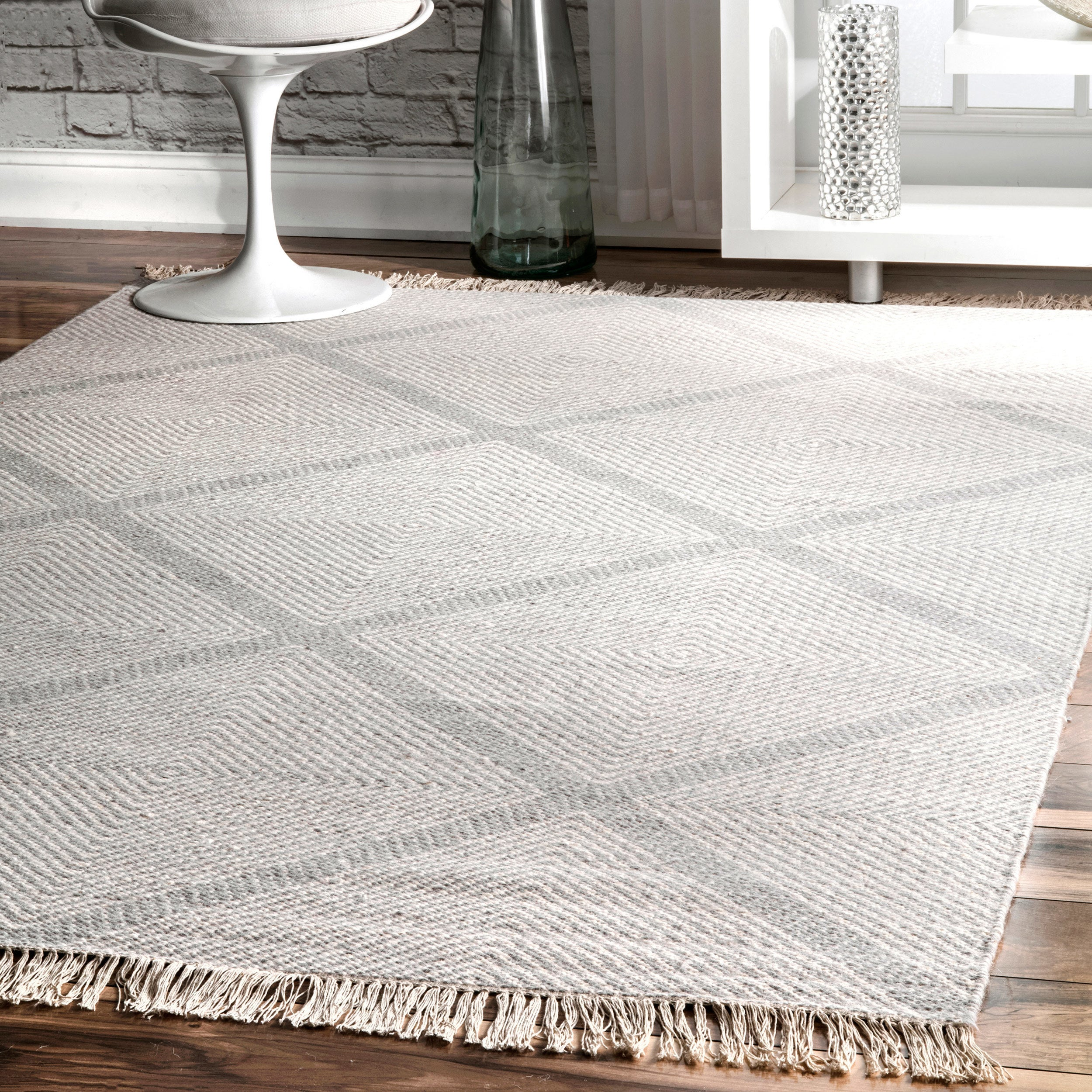 Nuloom Ivory Diamond Trellis Wool