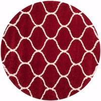 Safavieh Hudson Shag Red/ Ivory Rug - 7' Round