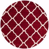 Safavieh Hudson Shag Red/ Ivory Rug - 7' x 7' Round
