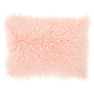 Mina Victory Couture Fur Tibetan Sheepskin Pink Throw Pillow (14-Inch X 20-Inch)