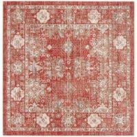 Safavieh Windsor Vintage Red/ Ivory Cotton Rug (6' Square)