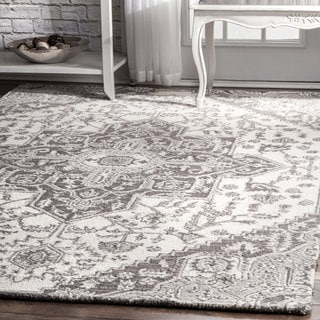 The Gray Barn Wilkie Grey Wool Traditional Handmade Floral Medallion Area Rug