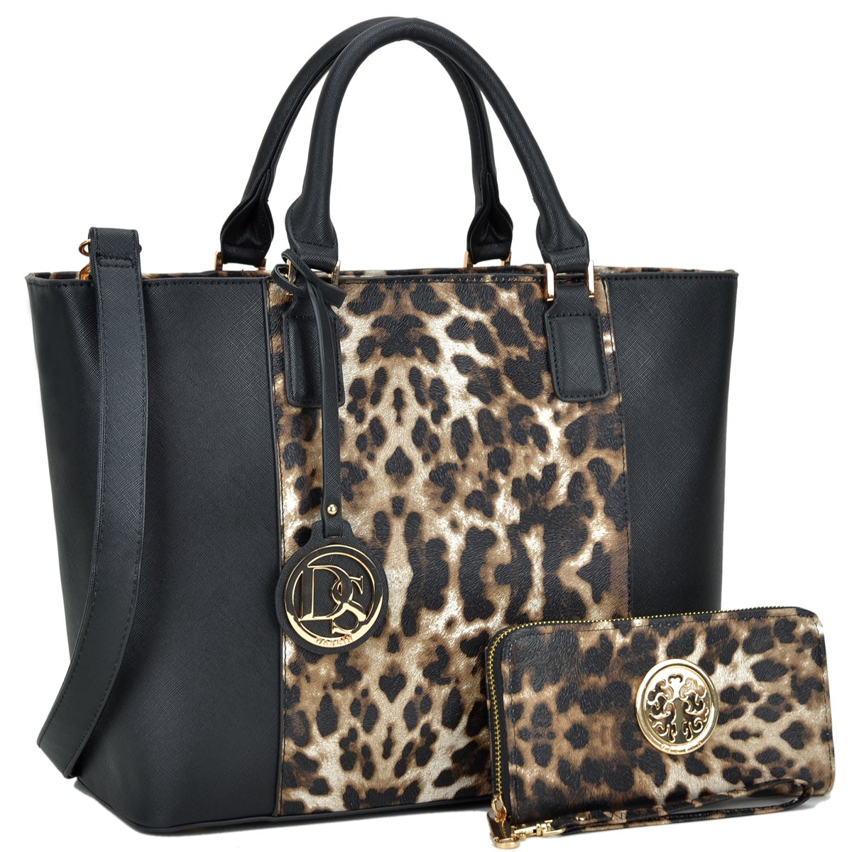 b89334eefd0a Dasein Medium Classic Leopard Tote Bag with Matching wallet ...