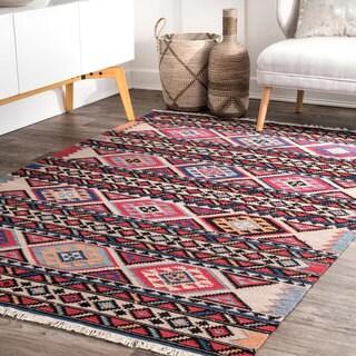 nuLOOM Red Southwestern Tribal Aztec Flatweave Wool Tassel Area Rug