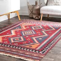 nuLOOM Burgundy Wool Handmade Southwestern Tribal Diamond Flatweave Area Rug