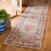 Safavieh Madison Light Grey/ Fuchsia Rug - 2' 3 x 10'