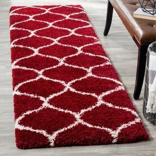 Safavieh Hudson Shag Red/ Ivory Rug (2' 3 x 6')