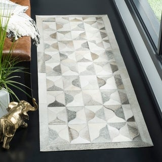 Safavieh Hand-Woven Studio Leather Grey/ Ivory Leather Rug - 2' 3 x 7'