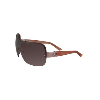 Guess Shield 0274 32F Womens Rose Frame Brown Lens Sunglasses