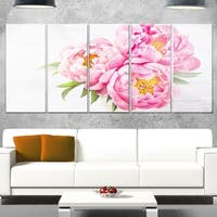 Designart 'Bunch of Peony Flowers In Vase' Floral Glossy Metal Wall Art