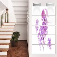 Designart 'Purple Jellyfish Watercolor' Animal Metal Wall Art