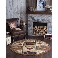 Alise Rugs Natural Lodge Novelty Lodge Round Area Rug - 5'3 x 5'3