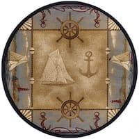 Alise Rugs Nautical Beige Round Area Rug (5'3 x 5'3)