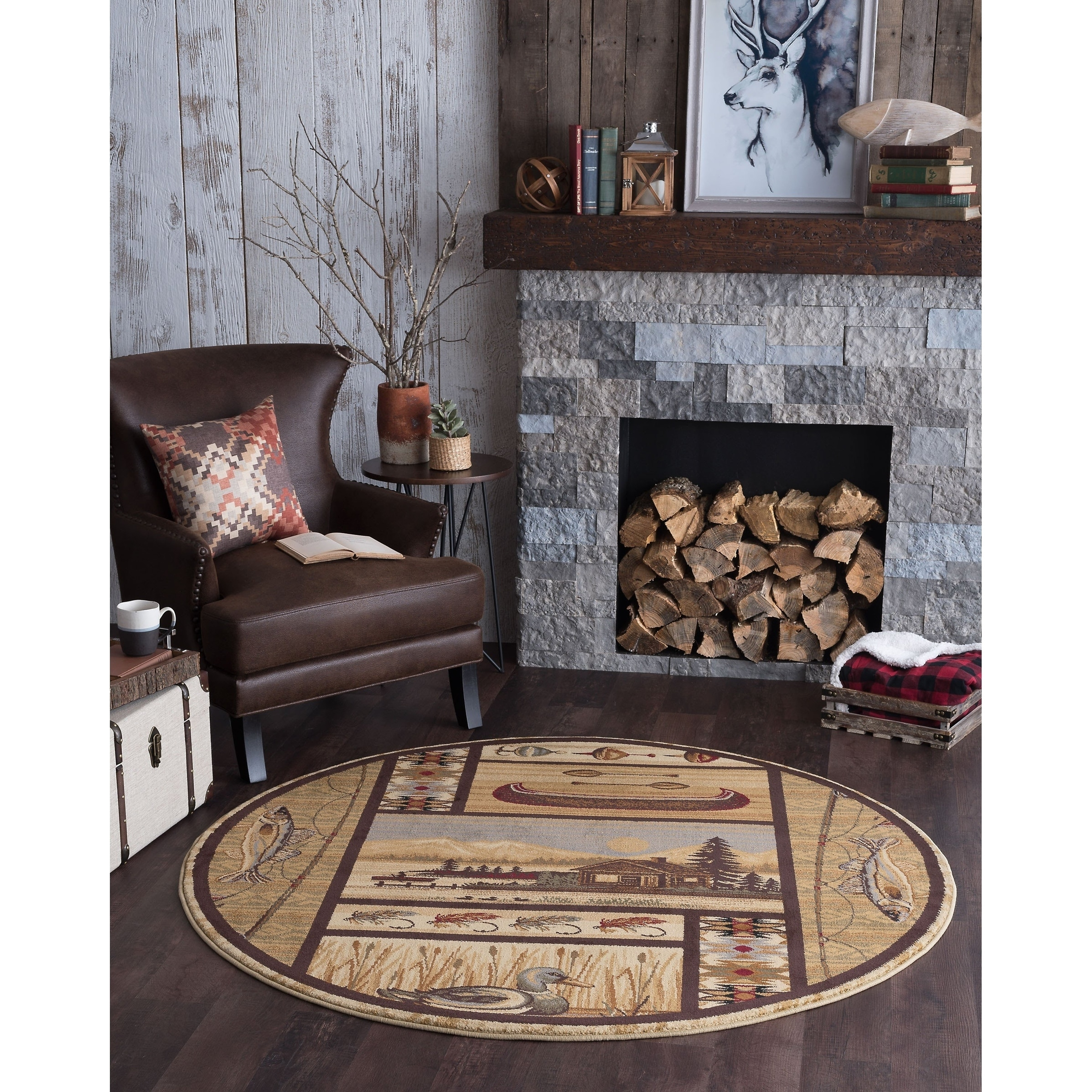 Alise Rugs Natural Lodge Novelty Lodge Round Area Rug 5 3 X 5 3