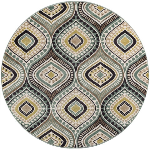Alise Rugs Caprice Contemporary Abstract Round Area Rug - 7'10 x 7'10