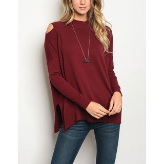 JED Women's Mock Neck Knit Cotton Sweater Top