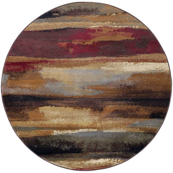 Pine Canopy Chugach Multicolor Abstract Area Rug - 7'10 Round