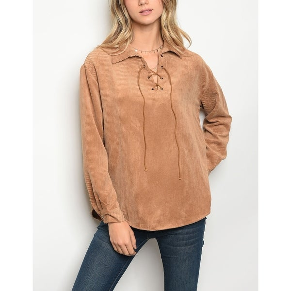 Shop JED Women s Relaxed Fit Lace-Up Long Sleeve Shirt - On Sale ... d679cfe8c