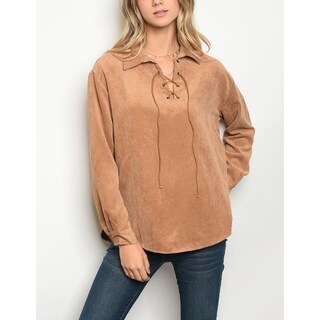 JED Women's Relaxed Fit Lace-Up Long Sleeve Shirt