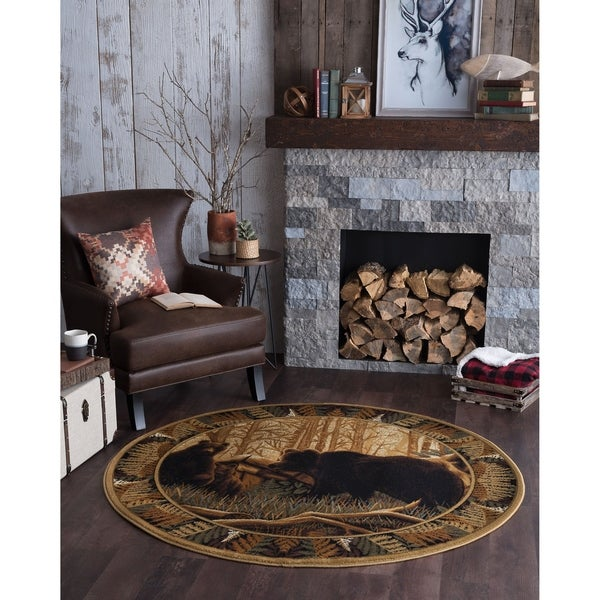 Shop Alise Rugs Natural Lodge Novelty Lodge Round Area Rug