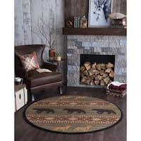 Alise Natural Novelty Lodge Area Rug (5'3 Round)